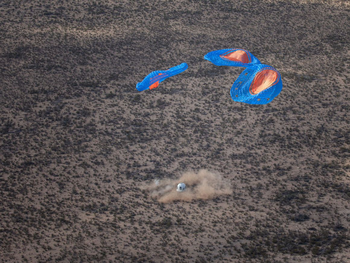 Touchdown of Blue Origin's New Shepard capsule, the RSS H.G. Wells, carrying Club for the Future postcards and other payloads on Dec. 11, 2019. The capsule reached an apogee of about 65 miles (105 kilometers) before returning to Earth.