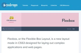Codrops screenshot says 'Flexbox, or the Flexible Box Layout, is a new layout mode in CSS3 designed for laying out complex applications and web pages'