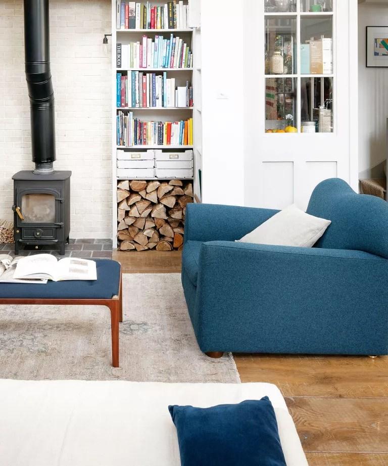 Minimalist living room with woodburner