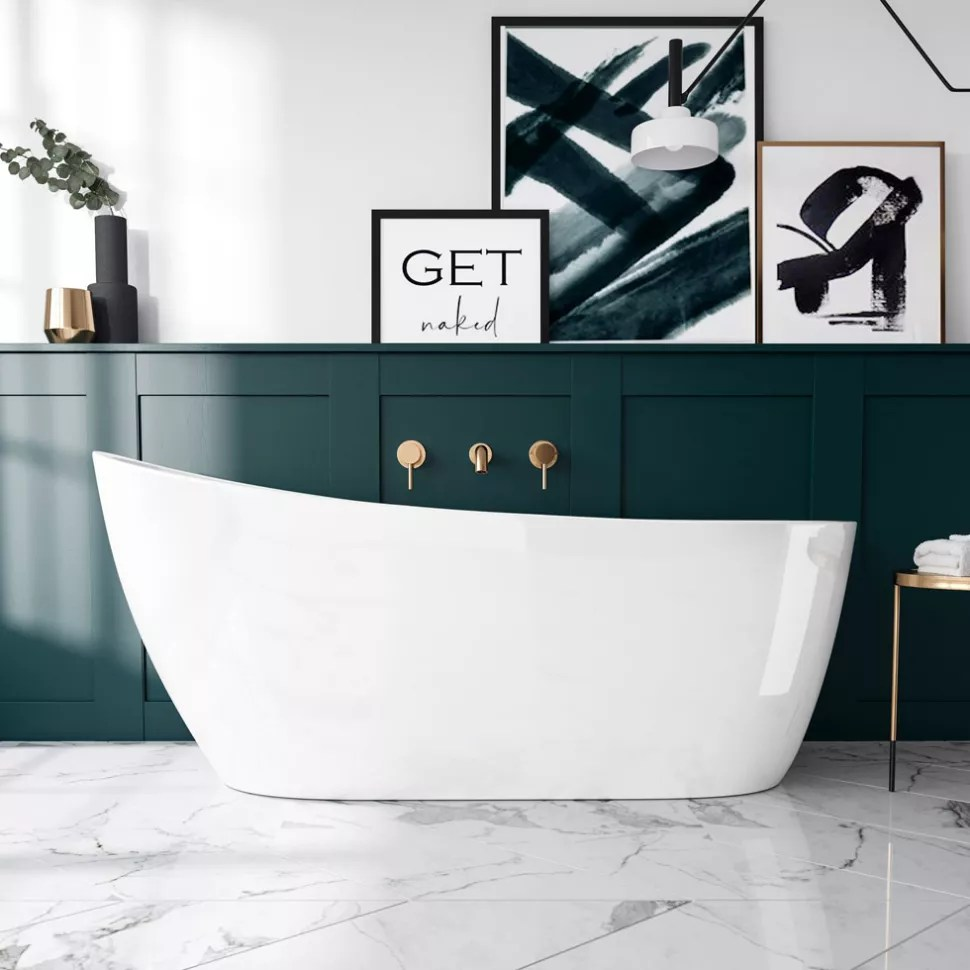 freestanding bath in bathroom with wall panelling
