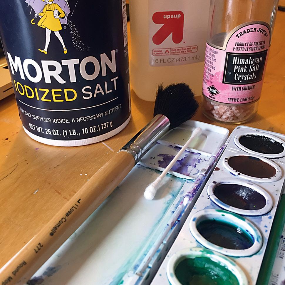 Watercolour palette, bottles of salt, paintbrush, cotton bud and rubbing alcohol