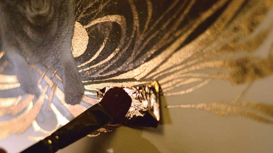 How to draw with mixed media: lay in gold leaf