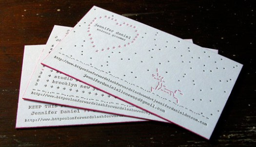 Letterpress business cards: Jennifer Daniel