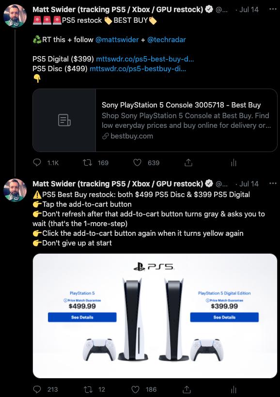 PS5 restock Twitter tracker alert for Best Buy