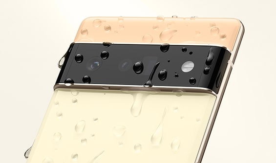 Image of Pixel 6 covered with water droplets
