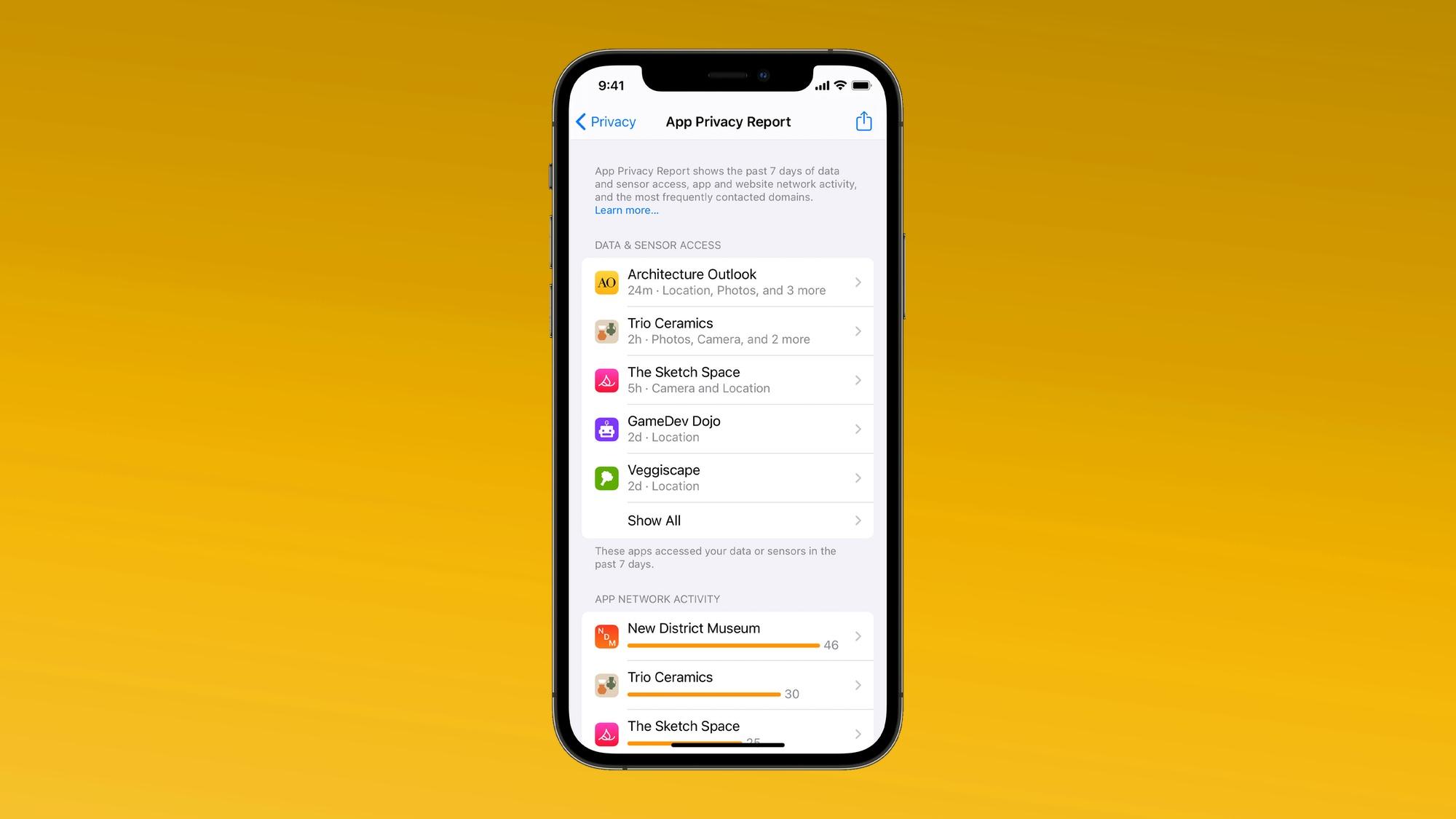 ios 15 app report