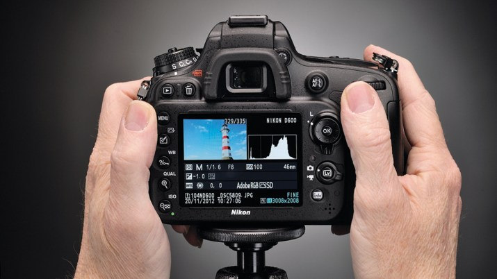 The rear of a camera showing the histogram