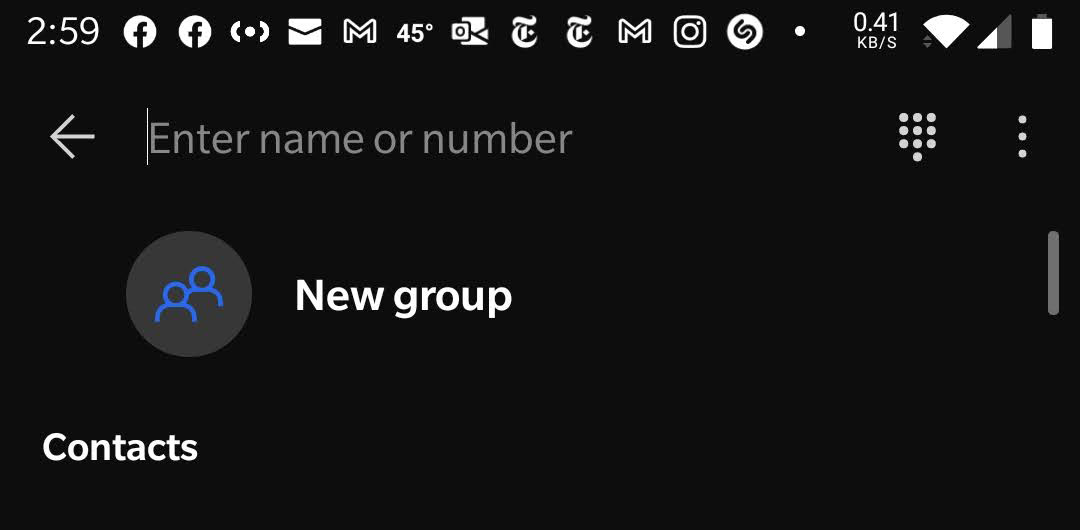 Screenshot of group creation button in Signal Android app.