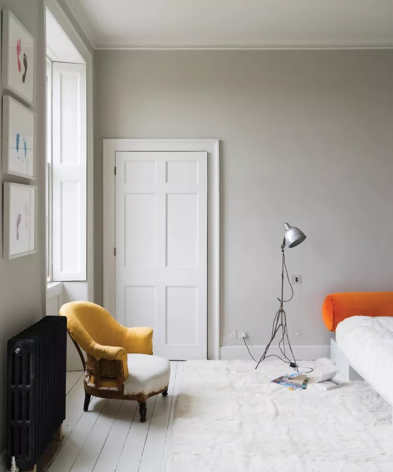 Skimming Stone by Farrow & Ball on the walls of a living room