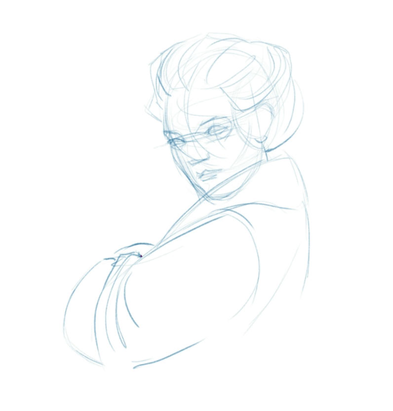Portrait sketch with guidelines