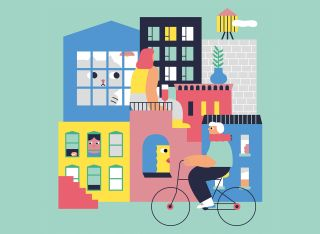 colourful illustration of houses and bikes