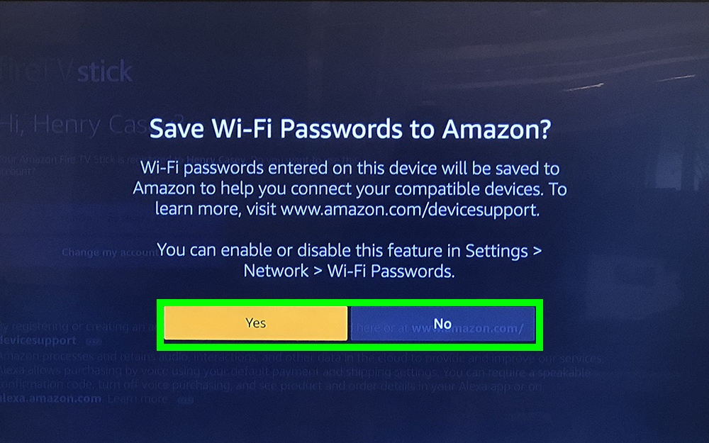 how to use fire stick - save passwords?