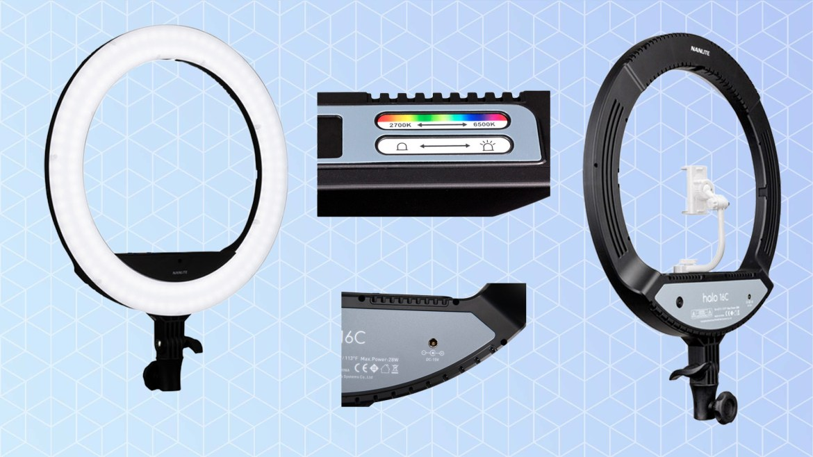 Best ring lights: Nanlite Halo 16C Bicolor and Tunable RGB 16-Inch LED Ring Light