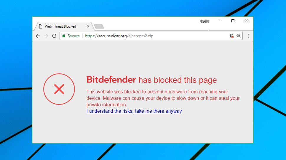 Bitdefender Antivirus Free Edition web filter