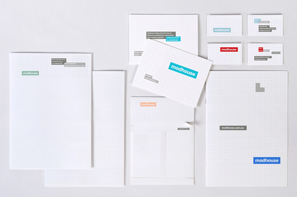 Minimal letterheads and branded stationery for Modhouse