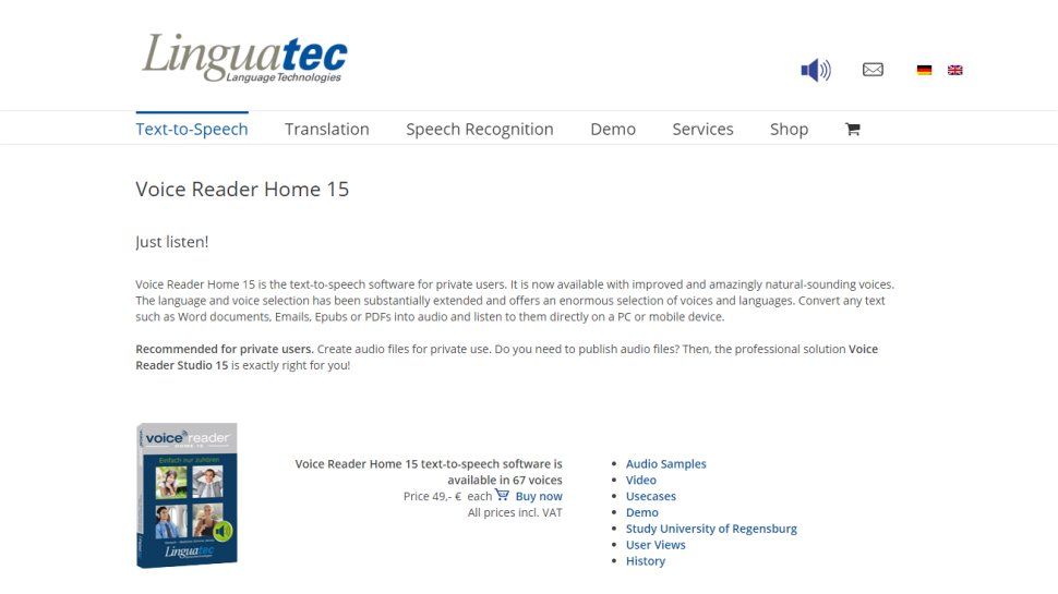 Linguatec Voice Reader Home - A trusted text-to-speech app