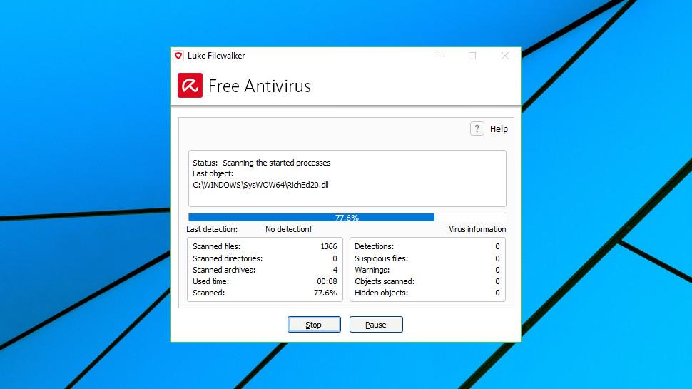 Avira Free Antivirus scan