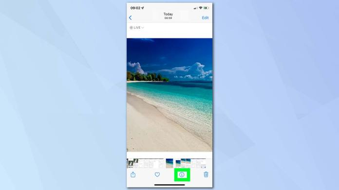 IOS 15 screenshot showing the Photos app and how to edit date and time metadata.  Behind the screenshot is a blue background