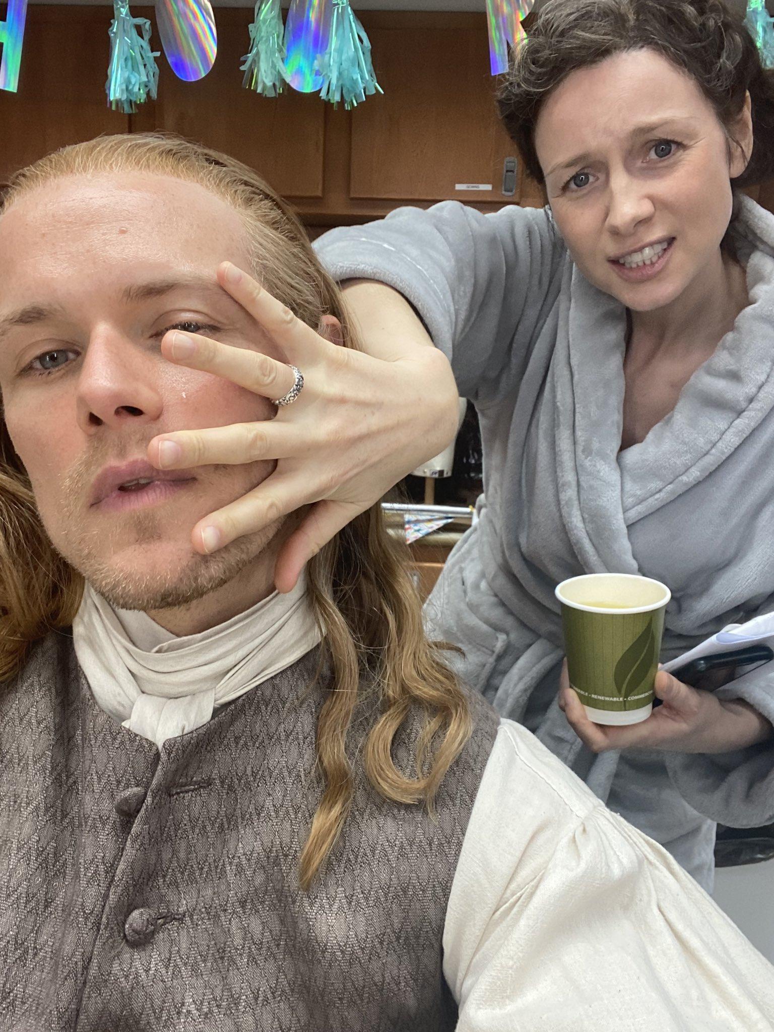 Outlander season 6: Sam Heughan with Caitriona Balfe