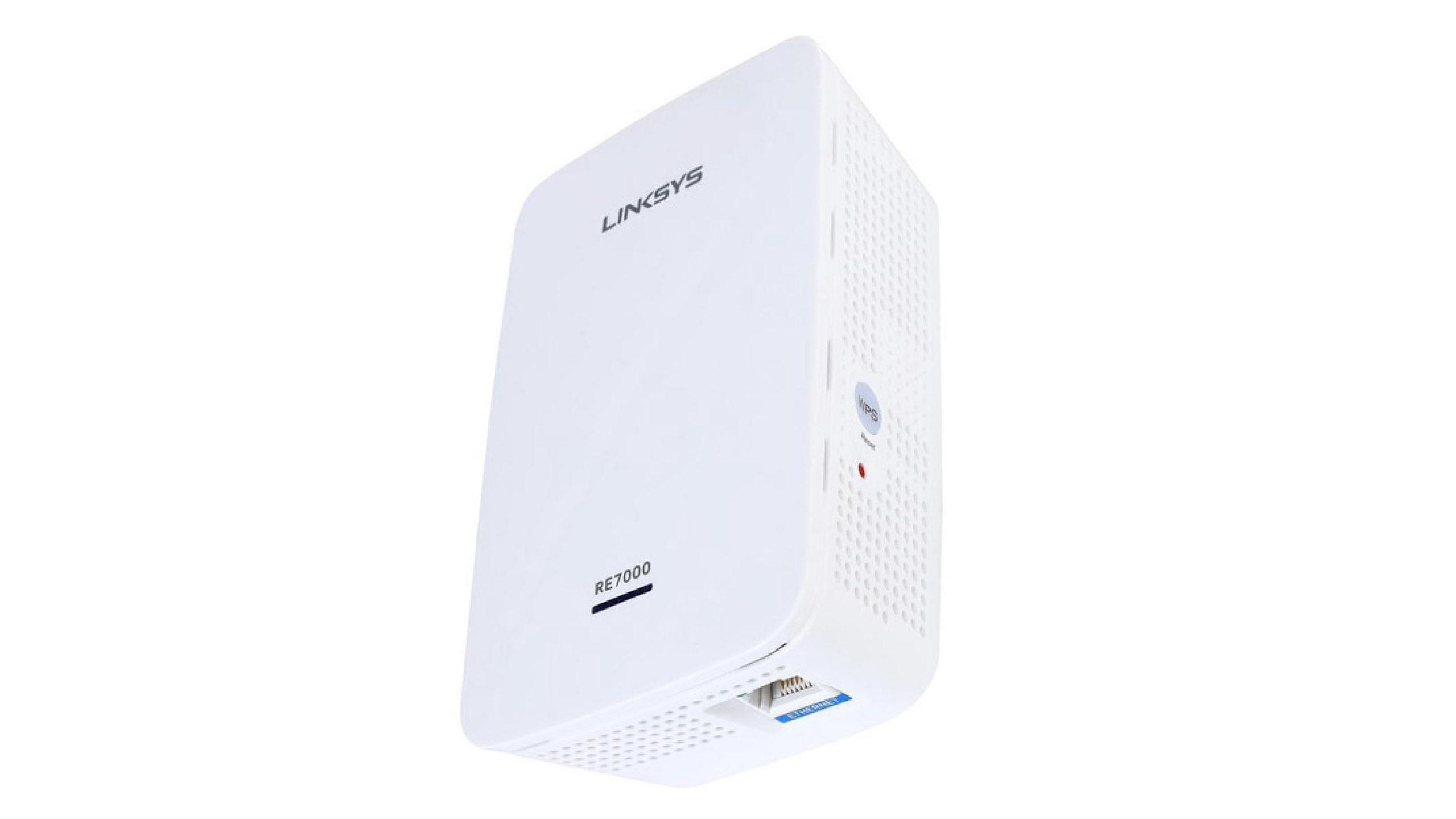 Linksys RE7000 Max-Stream AC1900+ from a side angle on a background