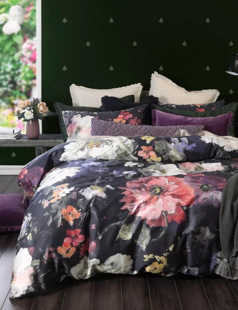 dark floral bedding