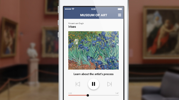 Image of cuseum app on a phone in an art gallery