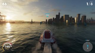 Pushing forwards on the left analog stick will give you extra speed in a powerboat, but reduce handling