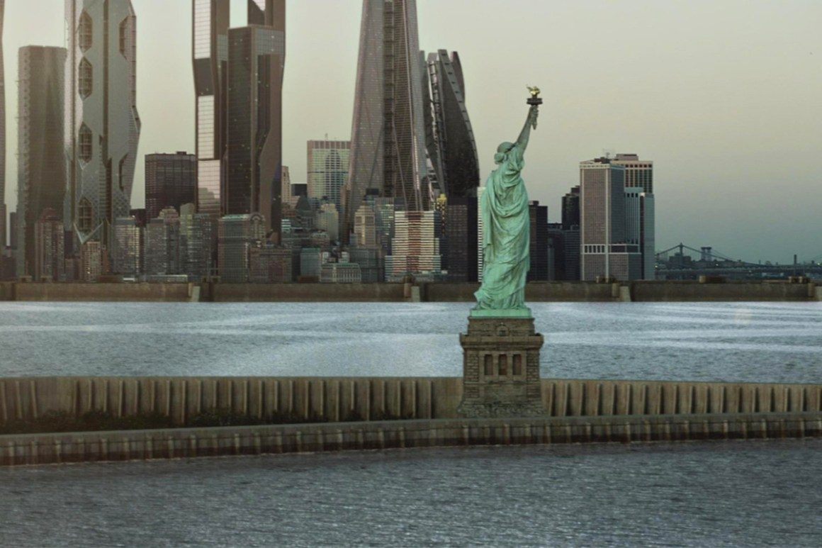 """Earth of the future has a stark reality in """"The Expanse."""" New York needs a 75-foot (23 meters) coastal defense wall to protect it from sea level rise."""