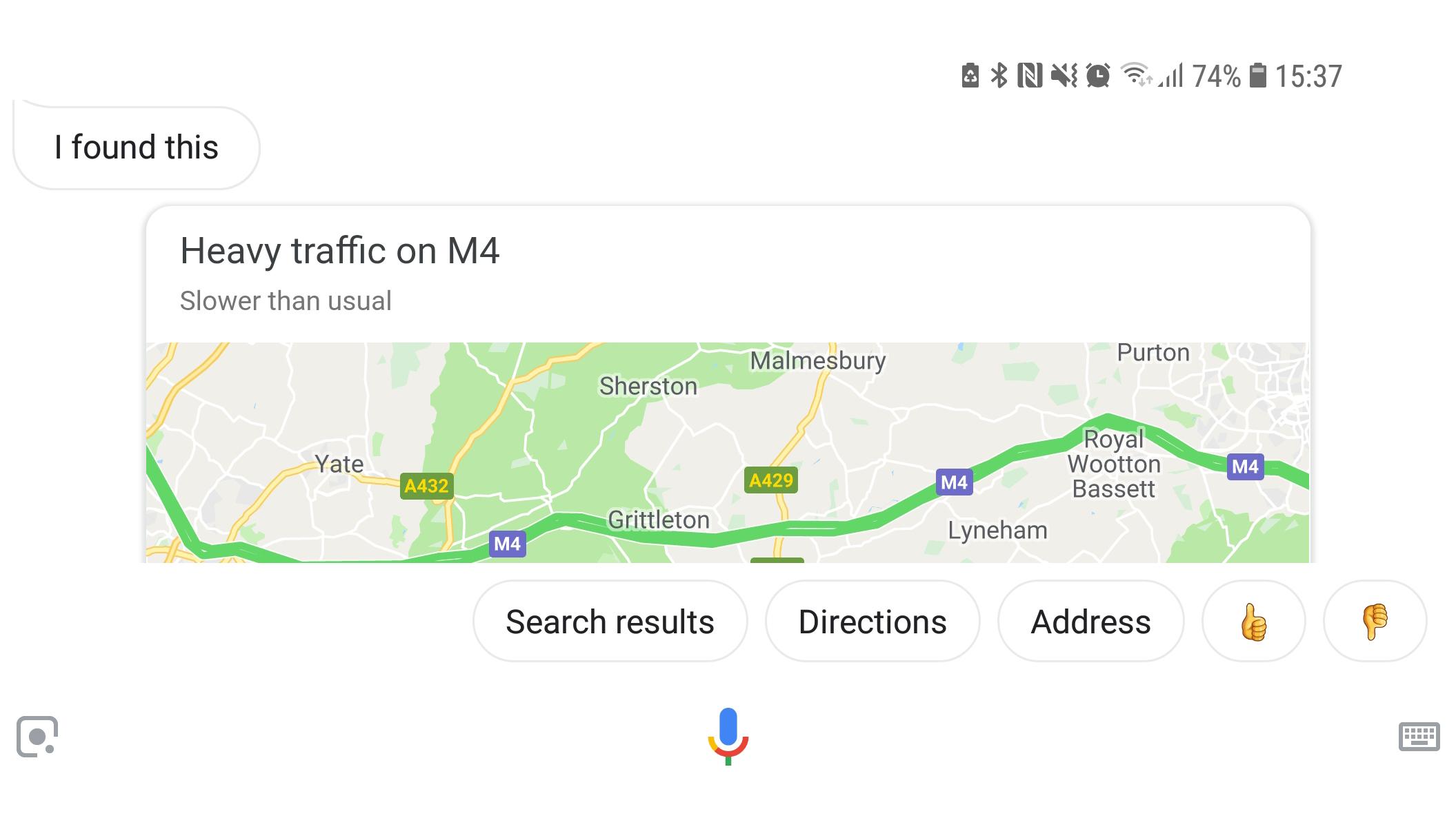 Google assistant traffic map