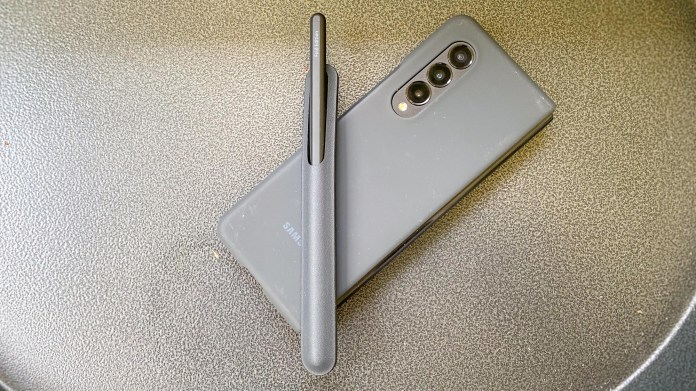 Galaxy Z Fold 3 closed and S Pen