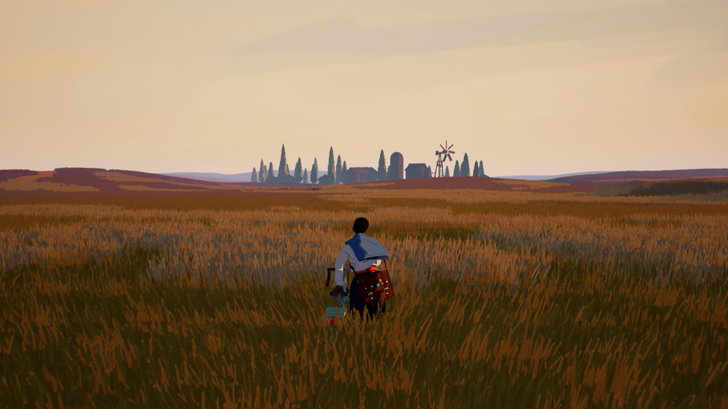 A boy walking through a field in the game Season