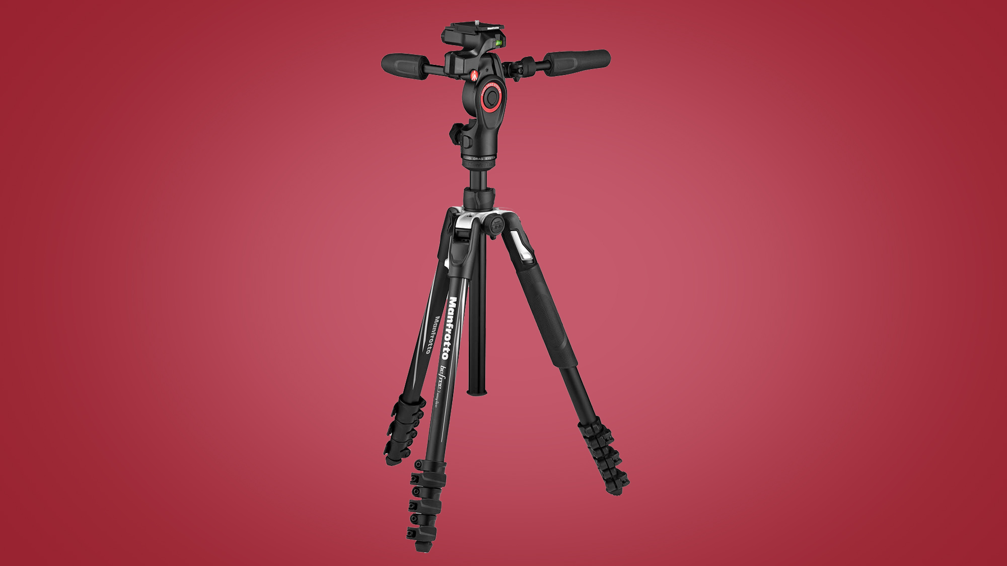 The Manfrotto Befree 3-Way Live Advanced on a red background