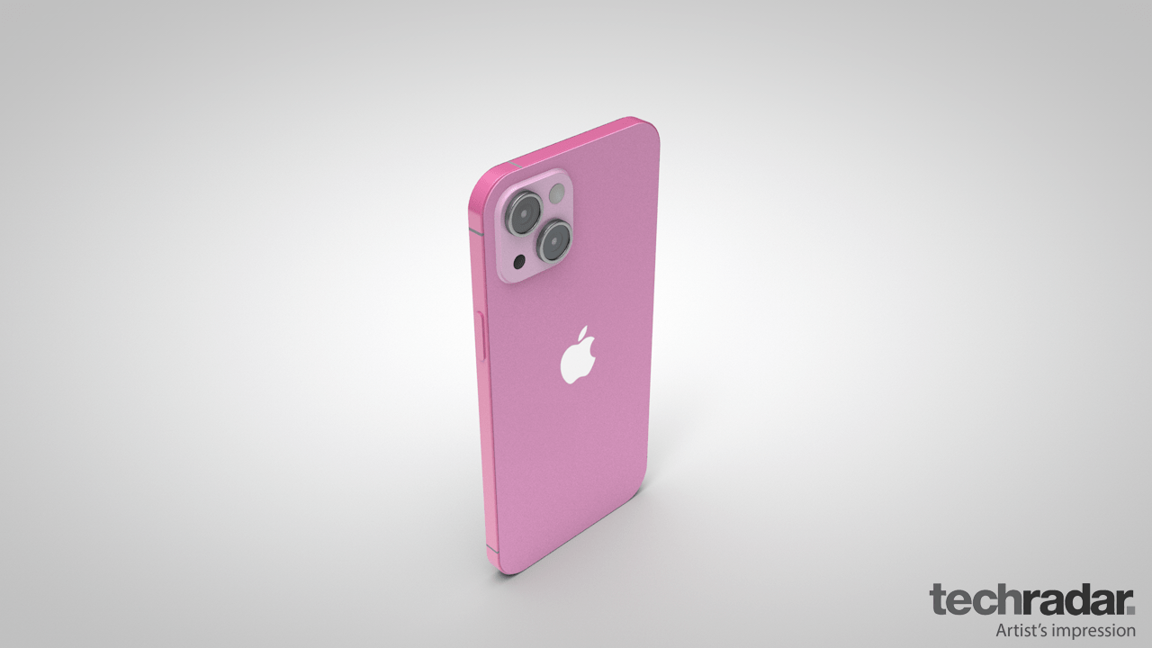 An artist's impression of the iPhone 13 in pink from the top of the phone