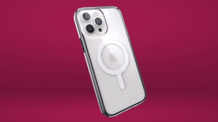 Speck Presidio Perfect-Clear with Impact Geometry Compatible with MagSafe is the best iphone 13 pro max case