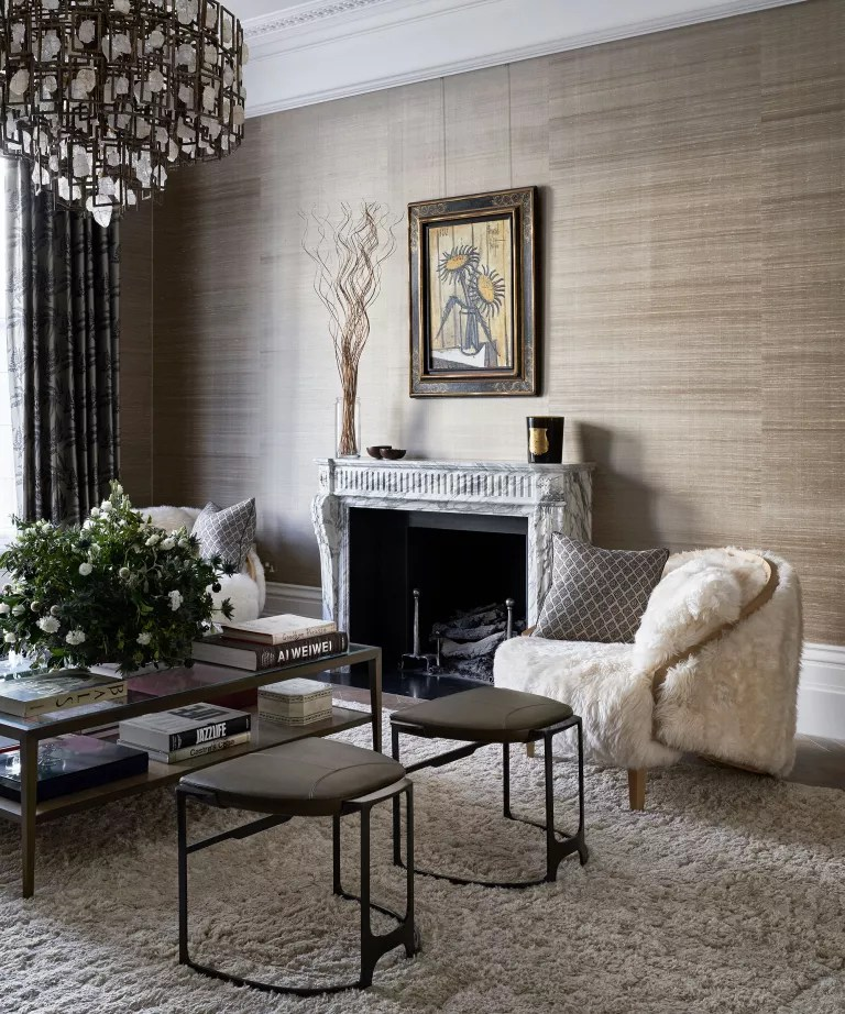 Living room with textural wallpaper