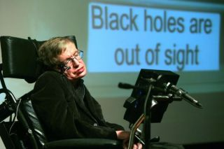 Stephen Hawking in front of a screen