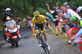 Julian Alaphilippe in yellow at the Tour de France