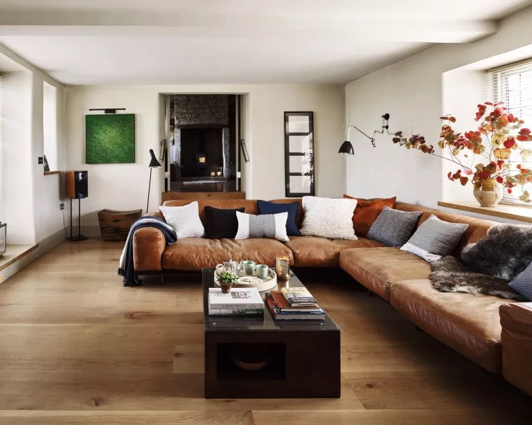 A living room with brown sofa idea with large leather corner sofa