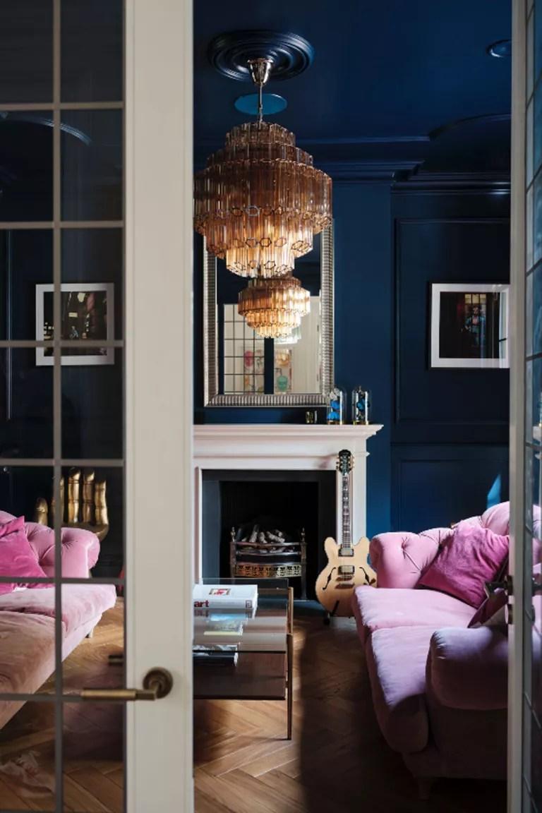 Livingetc-House-Tour-Modern-Home-East-London-Dark-Blue-Living-Room-Pink-Sofas