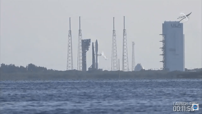 A view of the Mars 2020 mission's ULA Atlas V rocket as seen before launch on July 30, 2020.