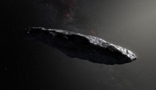 An artist's depiction of the first identified interstellar object, 'Oumuamua.
