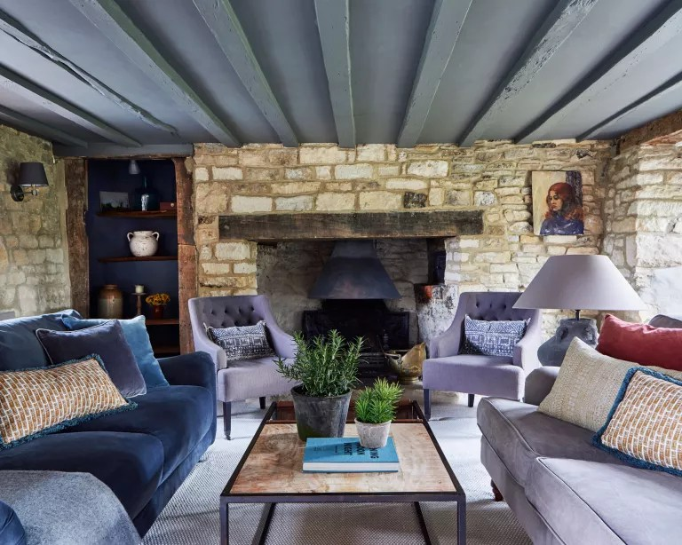 Cottage living room ideas – with exposed stone walls