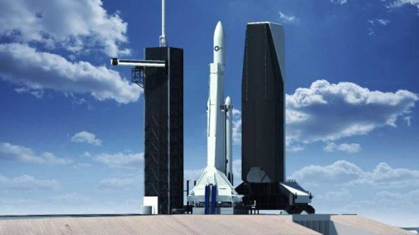 An illustration of SpaceX's planned mobile service tower at Launch Complex 39A of NASA's Kennedy Space Center in Cape Canaveral, Florida. The tower will allow vertical integration of U.S. national security payloads.