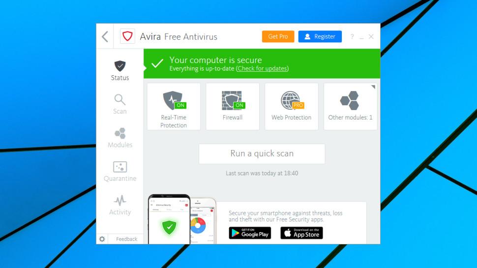 Avira Free Antivirus status