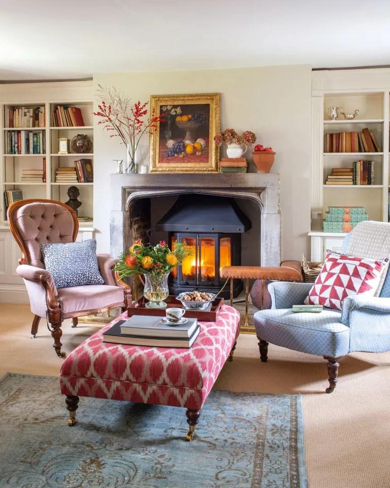 Cottage living room ideas – Cottage living room with wood burner