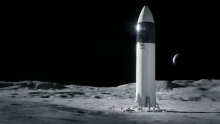 In April 2021, NASA picked SpaceX's Starship spacecraft, seen here in an artist's depiction, to land Artemis astronauts on the moon.