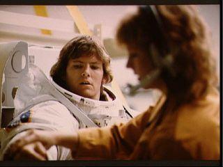 NASA astronaut Kathryn Sullivan undergoes spacewalk training for the STS-41-G mission in 1984.
