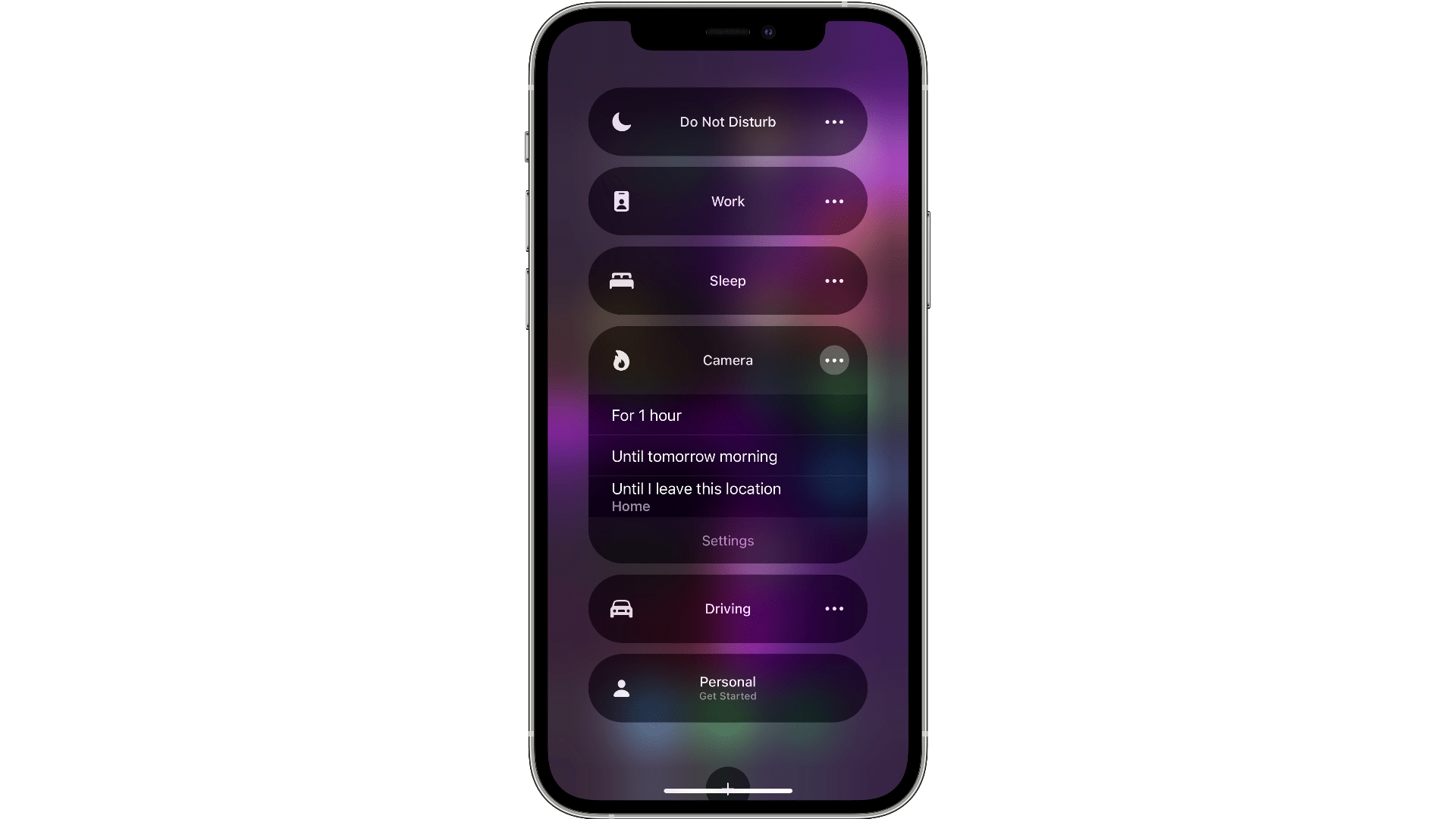 Finished Focus setting to choose in iOS 15