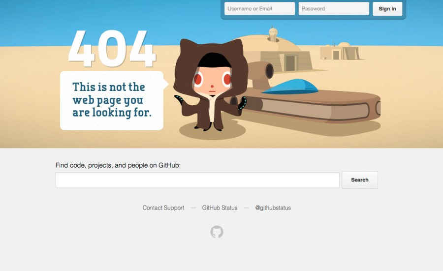Screenshot of GitHub's 404 page shows a cartoon Jedi-type character saying 'This is not the web page you were looking for'