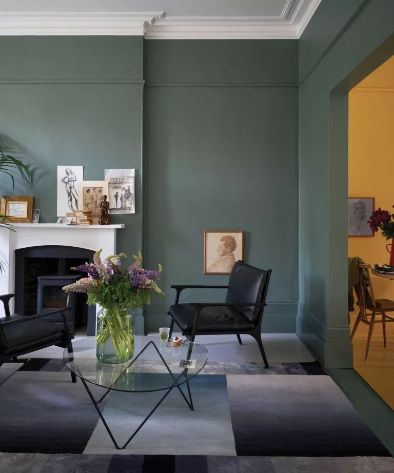 Green Smoke by Farrow & Ball on the walls of a living room